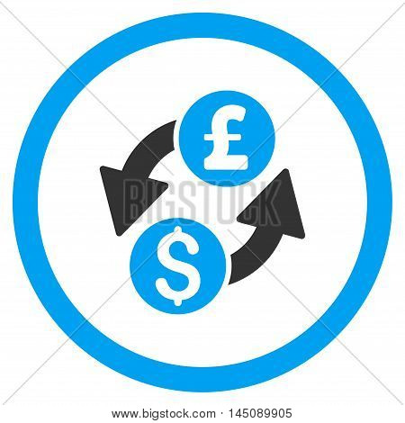 Dollar Pound Exchange rounded icon. Glyph illustration style is flat iconic bicolor symbol, blue and gray colors, white background.