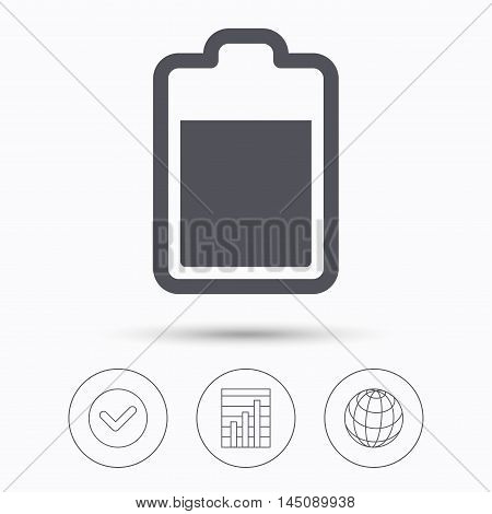 Battery power icon. Charging accumulator symbol. Check tick, graph chart and internet globe. Linear icons on white background. Vector