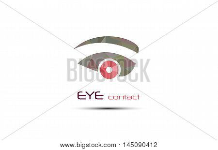 Vector abstract eye icon. Graphic element of vision symbol. Web spy search button. Creative modern Design template in red shades of color