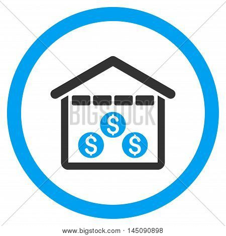 Money Depository rounded icon. Glyph illustration style is flat iconic bicolor symbol, blue and gray colors, white background.