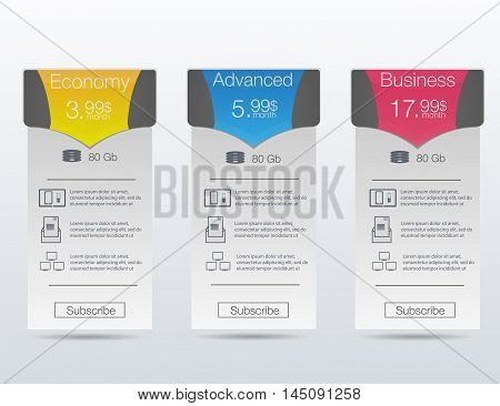 Triple banner for hosting interface for the site vector banner for web.