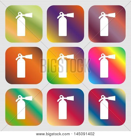 Extinguisher Icon. Nine Buttons With Bright Gradients For Beautiful Design. Vector