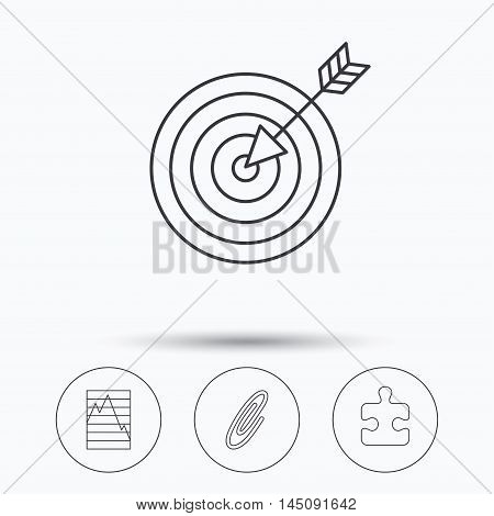 Puzzle, graph charts and target icons. Safety pin linear sign. Linear icons in circle buttons. Flat web symbols. Vector
