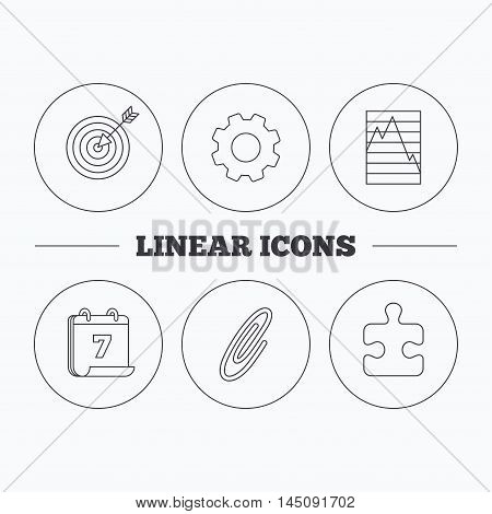 Puzzle, graph charts and target icons. Safety pin linear sign. Flat cogwheel and calendar symbols. Linear icons in circle buttons. Vector