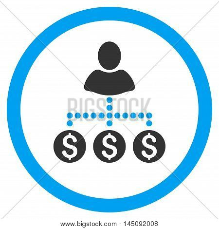 User Payments rounded icon. Glyph illustration style is flat iconic bicolor symbol, blue and gray colors, white background.