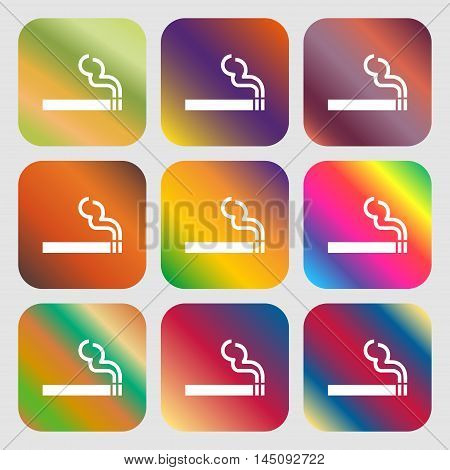 Cigarette Smoke Icon. Nine Buttons With Bright Gradients For Beautiful Design. Vector