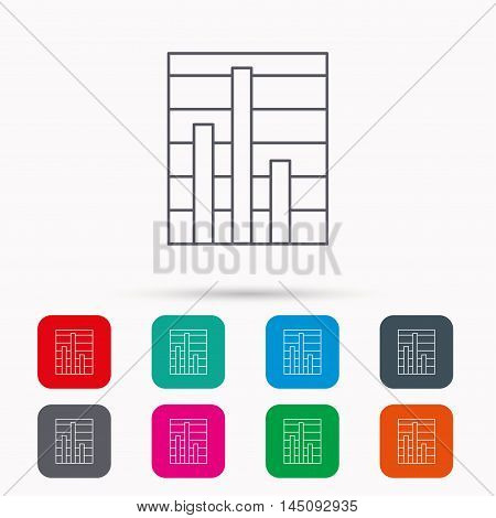 Chart icon. Graph diagram sign. Demand reduction symbol. Linear icons in squares on white background. Flat web symbols. Vector