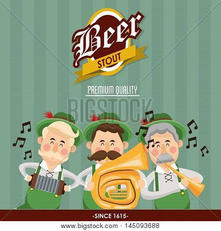 man male cartoon accordion trumpet saxophone music striped oktoberfest festival icon. Colorful design. Vector illustration