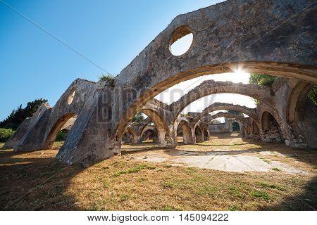 Ruin Of Old Venetian Boat Repair Yard In Gouvia