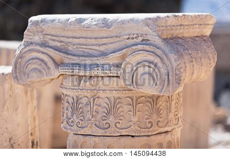 Detail Of Ionic Capital On The Acropolis