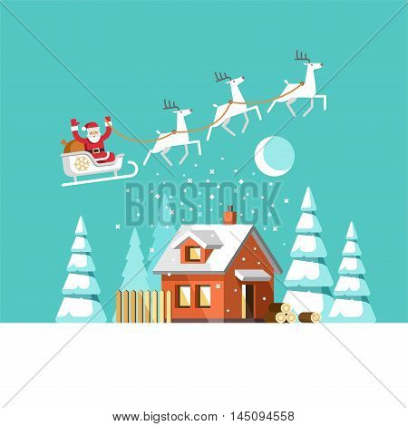 Santa Claus on sleigh and his reindeers. Winter house. Christmas card. Vector illustration.