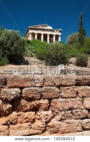 Temple of Hephaestus in Agora of Athens Greece