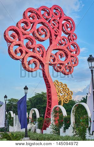 Giant Metal Red Tree