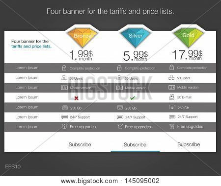 Four banner for the tariffs and price lists. Web elements. Plan hosting. Vector design for web app. Diamond style. Pricing table banner button list and bullet.
