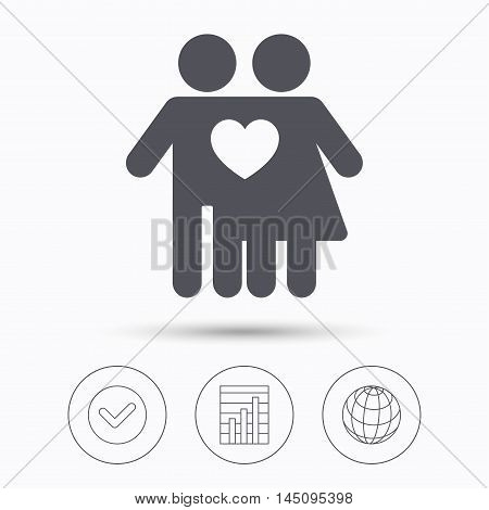 Couple love icon. Traditional young family symbol. Check tick, graph chart and internet globe. Linear icons on white background. Vector