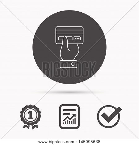 Credit card icon. Giving hand sign. Cashless paying or buying symbol. Report document, winner award and tick. Round circle button with icon. Vector