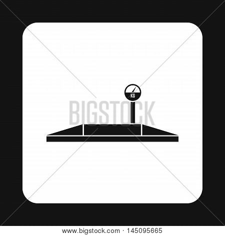 Truck scales icon in simple style isolated on white background. Weighing symbol