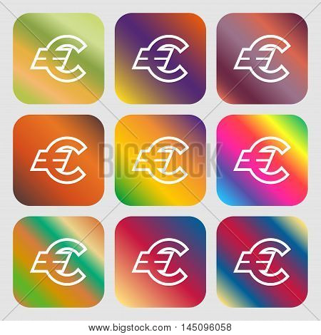 Euro Eur Icon. Nine Buttons With Bright Gradients For Beautiful Design. Vector