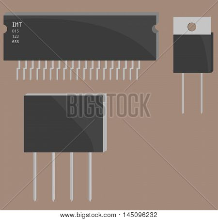 Electronic components for your design electronics part on flat design.