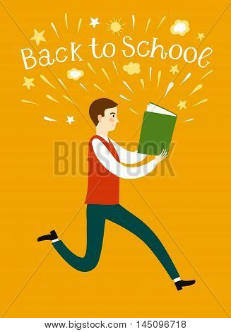Cartoon schoolboy running with a book. Including back to school title. Education illustration for your design.