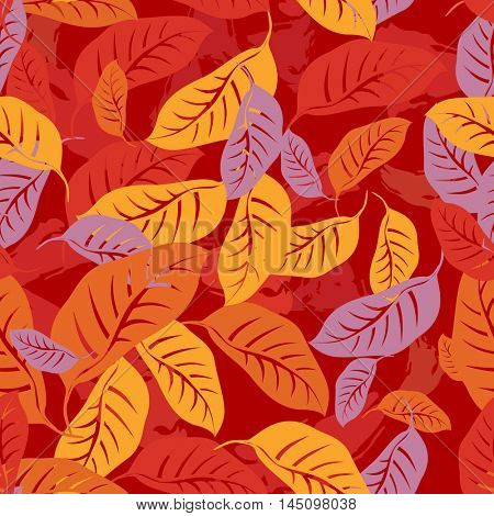 Autumn fallen leaves seamless pattern background. Vector illustration