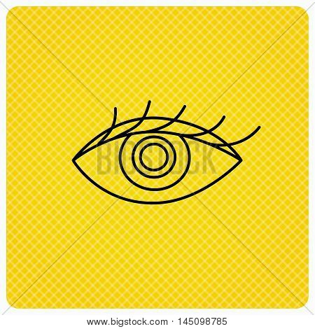 Eye icon. Human vision sign. Ophthalmology symbol. Linear icon on orange background. Vector