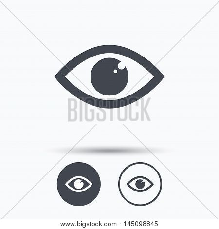 Eye icon. Eyeball vision symbol. Circle buttons with flat web icon on white background. Vector