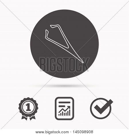 Eyebrow tweezers icon. Cosmetic equipment sign. Aesthetic beauty symbol. Report document, winner award and tick. Round circle button with icon. Vector
