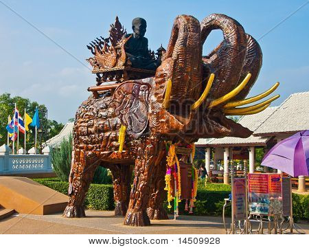 Thai Buddhist Saint/monk And Three-headed Elephant