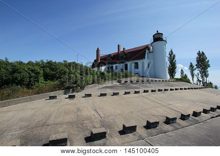 Point Betsie Light on shore of Lake Michigan in Michigan