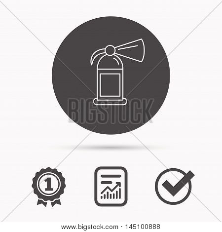 Fire extinguisher icon. Flame protection sign. Report document, winner award and tick. Round circle button with icon. Vector