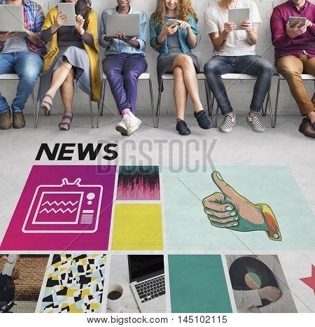 News Report Update Media Broadcast Information Concept