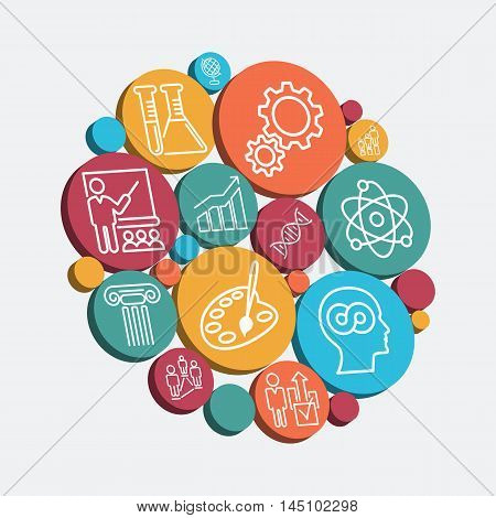 Set of colorful isolated icons of educational thematics, vector illustration