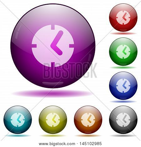 Set of color clock glass sphere buttons with shadows.