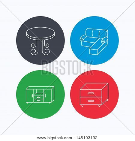 Corner sofa, table and nightstand icons. Chest of drawers linear sign. Linear icons on colored buttons. Flat web symbols. Vector