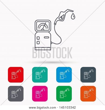 Gas station icon. Petrol fuel pump sign. Linear icons in squares on white background. Flat web symbols. Vector