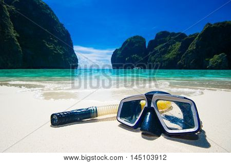 Swimming Mask On White Sand On Beach, Closeup