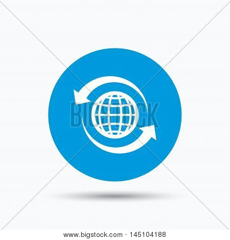 Globe icon. World or internet symbol. Blue circle button with flat web icon. Vector