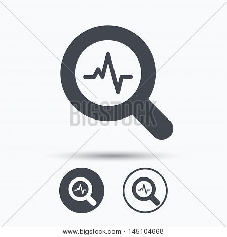 Heartbeat in magnifying glass icon. Cardiology symbol. Medical pressure sign. Circle buttons with flat web icon on white background. Vector