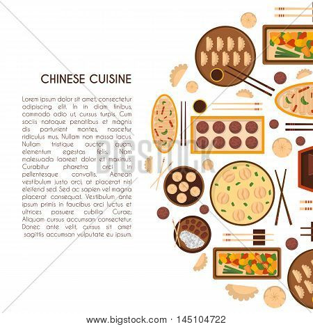 Vector illustration with cartoon cute chinese cuisine food: chicken kung pao wonton soup chow mein mantons. Traditional chinese food. Restaurant cafe menu background. Cartoon food plate top view