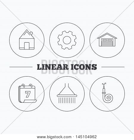 Real estate, garage and shower icons. Fire hose linear sign. Flat cogwheel and calendar symbols. Linear icons in circle buttons. Vector