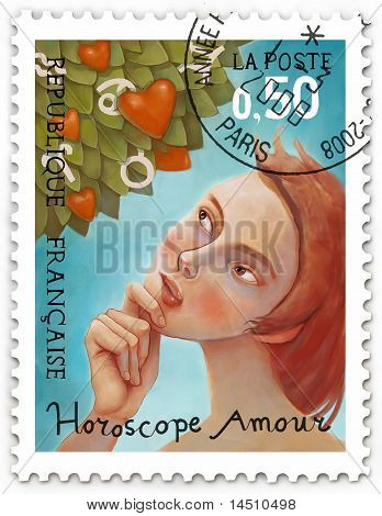 Zodiac tree, stamp
