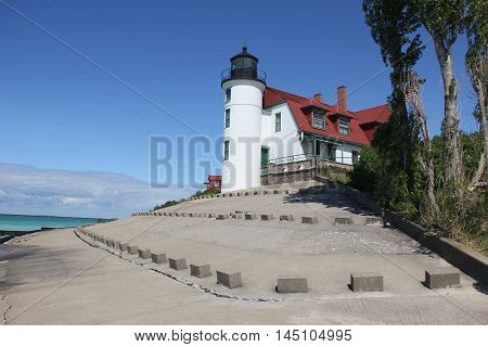 Point Betsie Light on the shore of Lake Michigan in Michigan