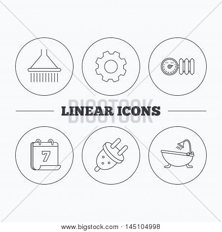 Shower, bath and electric plug icons. Radiator with regulator linear sign. Flat cogwheel and calendar symbols. Linear icons in circle buttons. Vector