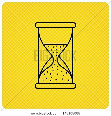 Hourglass icon. Sand time sign. Half an hour symbol. Linear icon on orange background. Vector