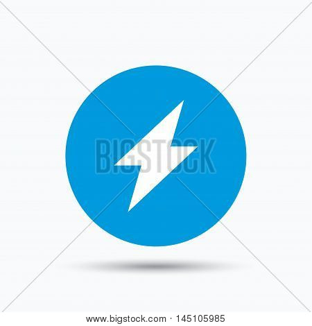 Lightning icon. Electricity energy power symbol. Blue circle button with flat web icon. Vector