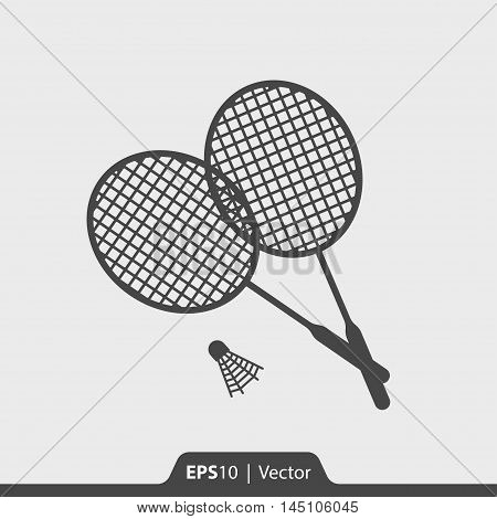 Badminton Rackets With Shuttlecock Vector Icon For Web And Mobil