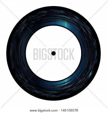 Typical 45 Seven Inch Vinyl record with white label over a white background