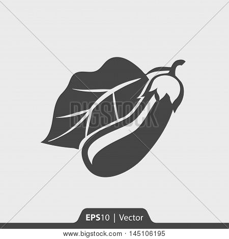 Eggplant With Leaf Vector Icon For Web And Mobile