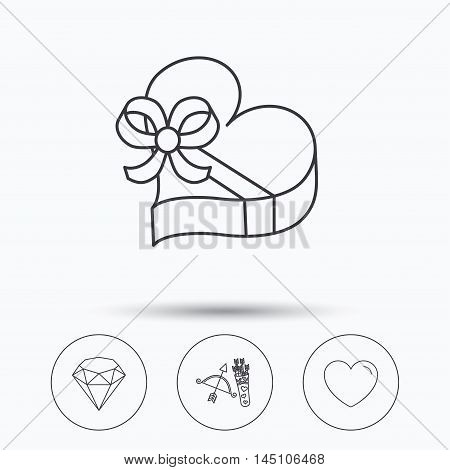 Love heart, brilliant and gift box icons. Amour bow with arrows linear signs. Linear icons in circle buttons. Flat web symbols. Vector
